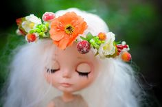 Blythe  - flower crown with 2 fairy-mashrooms and orange,  yellow  flowers for Blythe  - Blythe  outfit