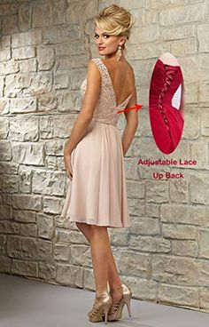 Women's V-Neck Knee Length Bridesmaid Dress Short Formal Evening Party Gown Lace Bodice Short Lace Bridesmaid Dresses, Champagne Bridesmaid Dresses, Bridesmaids, Homecoming Dresses Knee Length, Evening Party Gowns, Lace Bodice, Chiffon, Cheap Deals, Picture Link