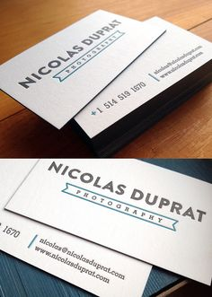 White Letterpress Cards - Letterpress business cards created by Agent Illustrateur. The cards has 2 spot colors and was printed on CRANE PEARL WHITE 110C. The edges are also colored to match the green-blue pantone color via cardobserver.com