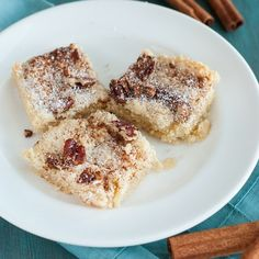 Low Carb Cinnamon Pecan Cookie Bars - these sweet and simple bars are delicious as a treat or as a quick breakfast fix. Low Carb Sweets, Low Carb Desserts, Low Carb Recipes, Diabetic Recipes, Low Carbohydrate Diet, Low Carb Diet, Low Carb Breakfast, Breakfast For Kids, Breakfast Bars