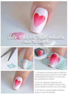 Nail art Saint Valentin 3 : Coeur Tie and Dye Beach Nail Art, Beach Nails, Plage Nail Art, Nail Art Designs, Red Ombre Nails, Nailart, Finger, Holiday Nail Art, Nail Tutorials