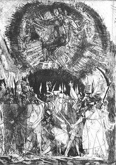 Kondor Béla:<br />Jelenetek Dózsa György idejéből - Rézkarcfitness Etching Prints, Draw, Belle, To Draw, Sketches, Painting, Tekenen, Drawing
