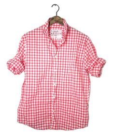Red and white large check shirt