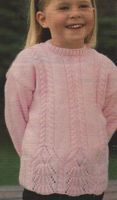 "Girls Sweater Knitting Pattern with Shell design DK 20-26""  602"