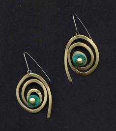 www.gallerysanivia.com  Handmade jewellery  Kolczyki z Turkusem mosiężne wyroby z mosiądzu rękodzieło artystyczne