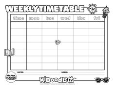 Print and color this Kidoodle.TV® June Weekly Timetable! Activity Sheets, Some Fun, Fun Activities, June, Printables, Tv, Color, Print Templates, Television Set