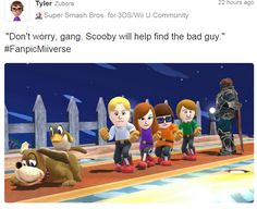 Scooby Doo Miis on a Super Smash Bros. stage with Duck Hunt Dog as Scooby and Ganondorf as the bad guy.