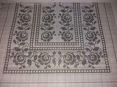 Crochet Tablecloth Pattern, Crochet Curtains, Crochet Doilies, Cross Stitch Borders, Cross Stitch Flowers, Cross Stitch Patterns, Embroidery Patterns, Crochet Patterns, Fillet Crochet