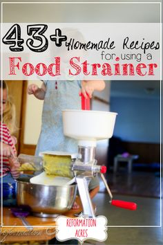 Using a food strainer makes food preservation and canning easy! Here are recipes for a food strainer. Real Food Recipes, Healthy Recipes, Drink Recipes, Easy Recipes, Healthy Food, Food Mills, Dehydrated Food, Survival Food, Survival Tips