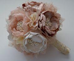 Ramo Bouquet-Champagne, crema y marfil de tela - ramo de flores de tela, ramo de reliquia, siempre Bouquet, ramo de novia, de gran tamaño