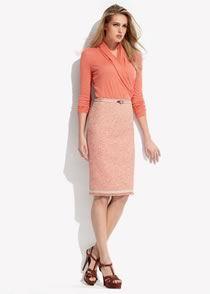 Peach Pencil skirt