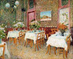 Vincent van Gogh (Dutch, Post-Impressionism, 1853-1890): Interior of a Restaurant, 1887. Created in Asnières-sur-Seine, Paris. Oil on canvas, 45.5 x 56.5 cm. Kröller-Müller Museum, Otterlo, Netherlands.