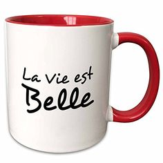 3dRose InspirationzStore Typography  La Vie est Belle  Life is Beautiful in French  black and white text  11oz TwoTone Red Mug mug_185024_5 >>> You can get additional details at the image link. (This is an affiliate link)