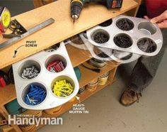 Use Muffin Tins to Store Small Items in Your Garage Workshop Storage, Tool Storage, Diy Storage, Garage Storage, Storage Ideas, Storage Bins, Bead Storage, Craft Storage Solutions, Pegboard Storage