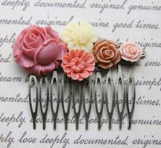 Cabochon utopia bridal bride hair pin comb romantic vintage flare affair modern rose pink white brown flowers antique victorian filigree by EtsyNazi on Etsy