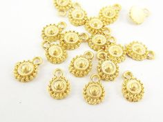 20 Tiny Rustic Cast Round Tribal Charms  22k Matte by LylaSupplies