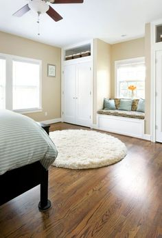 Built in closet/wardrobe with window seat ... amazing website with before and after pictures of renovated old small houses
