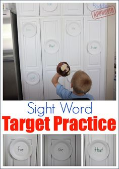 Sight Word Target Practice - I Can Teach My Child! - EIP Math - This sight word target practice activity combines learning sight words with gross motor fun! Teaching Sight Words, Sight Word Games, Sight Word Practice, Sight Word Activities, Reading Activities, Educational Activities, Activities For Kids, Word Games For Kids, Sight Word Wall