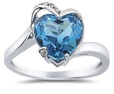 Heart Shaped Blue Topaz and Diamond Ring in White Gold Topaz Jewelry, Jewelry Rings, Diamond Ring Settings, Blue Topaz Ring, Heart Shapes, Heart Ring, Sapphire, White Gold, Bling