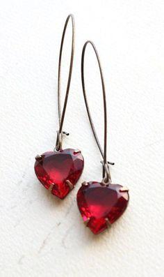 Heart Earrings Red Rhinestone Earrings Ruby Red