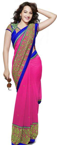 19 Amazing Pics of Sonakshi Sinha in Saree Sonakshi-Sinha-In-Embroidery-Party-Wear-Saree Sonakshi Sinha Saree, Deepika Padukone, Kareena Kapoor, Angela Simmons, Most Beautiful Bollywood Actress, Beautiful Indian Actress, Indian Beauty Saree, Indian Sarees, Indian Bollywood