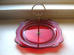 SALE 50's Tidbit Serving Dish Ruby Red