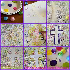Tape Resist Easter Cross - The Chaos and the Clutter