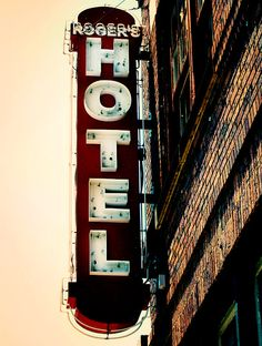 Urban History Vintage Retro Hotel Sign Photography Art Print Vintage Neon Hotel Sign Rust And Brown Tones Wall Art Decor Noir Hotel Sign (30.00 USD) by MarshaHolmes