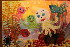 Как нарисовать осьминога поэтапно. Видео урок рисования гуашью для детей...