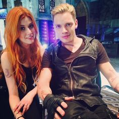 Clace. @kitkatsmeow and @domsherwood on the Institute set looking cute.