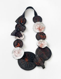Camilla Prasch Necklace: Roter Blumenkrans, 2015 Cotton, wool, polyester, nylon, viscose, silk, coated leather, jersey 45 x 24 x 2.5 cm Photo by: Søren Nielsen From series: Rest - Blume
