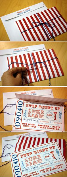 carnival invitation- red and blue Carnival Baby Showers, Circus Carnival Party, Circus Theme Party, Carnival Wedding, Carnival Birthday Parties, First Birthday Parties, Birthday Party Themes, Vintage Carnival, Carnival Party Decorations