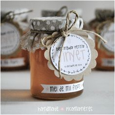 Detalles bautizo Honey Packaging, Food Packaging, Packaging Design, Honey Favors, Jam Jar, Jar Labels, Decorated Jars, Wedding Favors, Pots