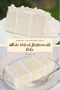 This white velvet buttermilk cake recipe is my FAVORITE cake recipe out of all of them. Köstliche Desserts, Dessert Recipes, Baking Recipes, White Cake Recipes, Recipes Dinner, Best Cake Recipes, Pie Recipes, Potato Recipes, Casserole Recipes