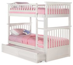 White Columbia Bunk Bed Twin Over Twin with a Raised Panel Trundle Bed