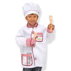 Awaken an interest in cooking in this fun dress-up chef's costume and role play set! When kids dress the part, they really get into the spirit of learning! (Click to order)