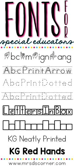Mrs D's Corner: Fonts for Special Educators