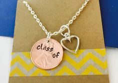 Graduation Penny Necklace- Class of 2017 Necklace Hand Stamped -Personalized Penny Necklace Graduation Gift Graduation Necklace