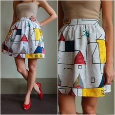 Vintage 80s High Waisted Skirt  /  Geometric by babybirdvintage  #vintage #fashion #etsy