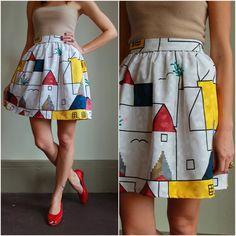 Vintage 80s High Waisted Skirt  /  Geometric by babybirdvintage  #vintage #fashion #etsy