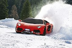 Lamborghini Aventador. That goes fast in the snow.