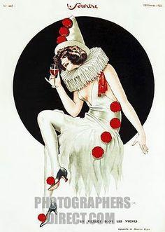 Stock Photo - Un Pierrot Dans Les Vignes illustration from the French risque magazine Le Sourire a clown drinks wine 1920s Halloween, Character Design, Art Inspo, Illustration, Drawings, Vintage Clown, Vintage Circus, Art, Clown Illustration