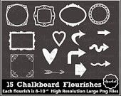 Chalkboard Flourishes FLORAL Clip Art Wedding Rustic Instant Download