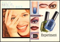 Fuck Yeah Nostalgic Beauty Products, Revlon Street Wear Print Ad, totally remember this Vintage Makeup Ads, Vintage Nails, Retro Makeup, Vintage Beauty, Beauty Ad, Beauty Products, 90s Makeup, Perfume Ad, Vintage Magazines