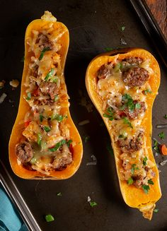 butternut squash soup This Thanksgiving, you and your family will be thank-full for butternut squash! Our Sausage Stuffed Butternut Squash recipe takes classic stuffing ingredient Sausage Recipes, Pork Recipes, Vegetable Recipes, Cooking Recipes, Healthy Recipes, Recipies, Butternut Squash Casserole, Stuffed Butternut Squash, Stuffed Squash