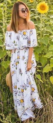 #summer #feminine #outfits |  Bardot Sunflower Maxi Dress
