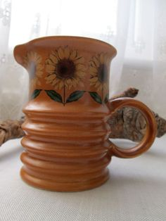 Carlton Ware Pottery Medium Jug Creamer Sunflower Pattern 1960s Vintage Retro