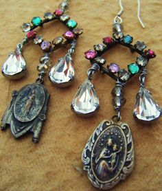 Antique religious earrings paste rhinestone by madonnaenchanted, $89.00