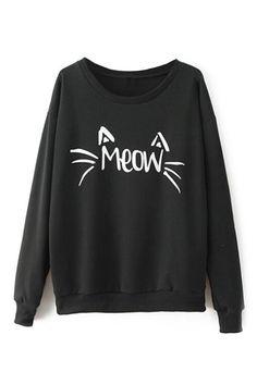 Cat Face Print Black Sweatshirt