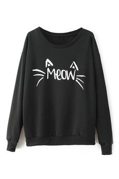abaday | Cat Face Print Black Sweatshirt, The Latest Street Fashion